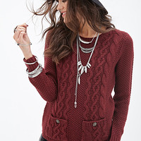 FOREVER 21 Cable Knit Pocket Sweater Burgundy