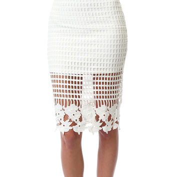 Artisan Beauty Lace Pencil Skirt - White