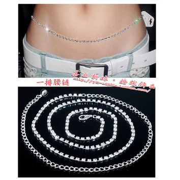Gentlewomen belt full rhinestone belly chain diamond belly chain all-match rhinestone belly dance belly chain BC001