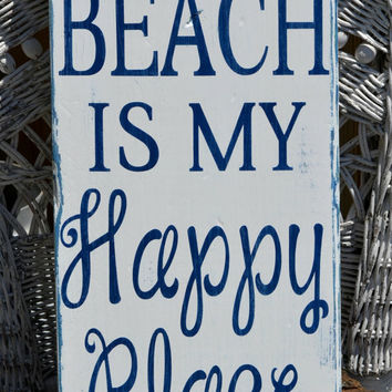 "Larger Beach Decor Sign, 20"" x 10"" Wood Sign, Larger, The Beach Is My Happy Place, Distressed, Coastal, Nautical, Beach, Tropical Decor"