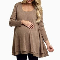 Mocha-Chiffon-Layered-Flare-Knit-Maternity-Top