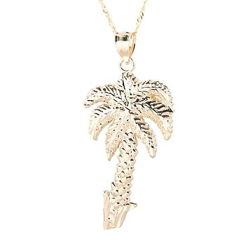Hawaiian Jewelry 14K Yellow Gold Palm Tree Pendant(Chain sold separately)