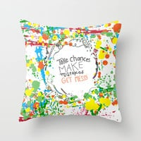 Miss Frizzles mantra ...take chances make mistakes get messy Throw Pillow by Studiomarshallarts