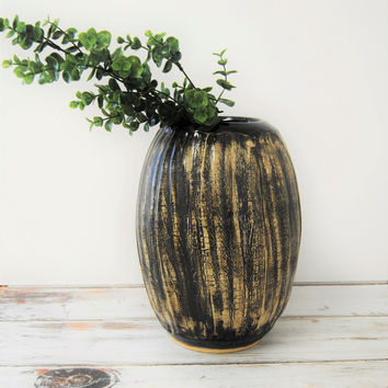 Large Black Textured Vase