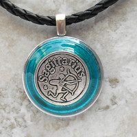 sagittarius necklace: blue - mens necklace - mens jewelry - astrology - boyfriend gift - zodiac - birthday gift - leather cord - unique gift