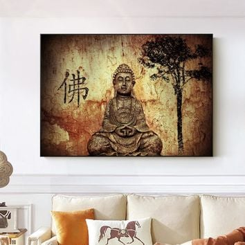 Buddha Wall Art Canvas Traditional Buddhism Canvas Paintings On The Wall Home Decorative Pictures For Living Room Cuadros Decor