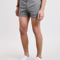 Black and White Printed Micro Shorts - Men's Shorts - Clothing