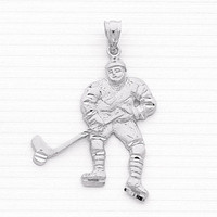 Sterling Silver Ice hockey player charm