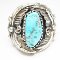 Navajo Sterling Turquoise Feather Ring Size 9