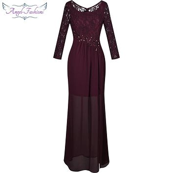 Angel-fashions Women's Long Bridesmaid Dress Scoop Neck Lace Long Sleeve Transparent Beading Pleat Slit  Wine Red 322