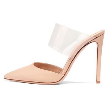 FSJ Women Strappy Stiletto High Heels Clear Sandals Pointed Toe Sexy Party Shoes Size 4-15 US