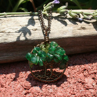 Petite Peridot and Aventurine Twin Tree Of Life Necklace Pendant On Brown Chain Wire Wrapped Wedding Jewelry August Birthstone Jewelry