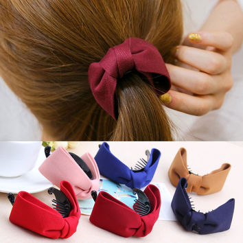 1PC Korean Fashion Women Hair Accessories Hairpin Side-knotted Clip Twist Clip Bow Gripper Banana Clip Horse Tail Clip