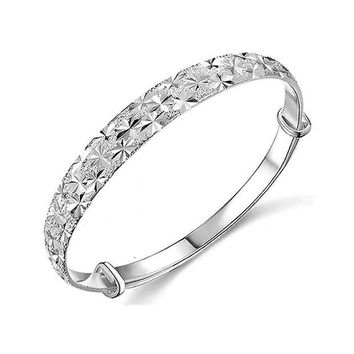 DCCKV2S Botrong Unique Design Fashion Jewelry 925 Sterling Silver Womens Charm Bangle Bracelet Gift