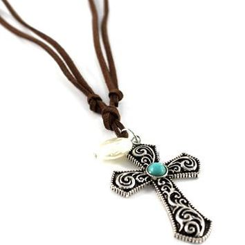 SUEDE STRING FRESH WATER PEARL WITH CROSS LONG NECKLACE