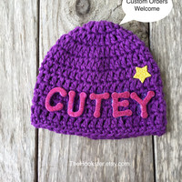 Handmade Baby Hat in Purple, Unisex Baby Hat, Monogrammed Baby Beanie, Unisex Crochet Baby Hat Ready to ship Newborn Purple Cutey Beanie Cap