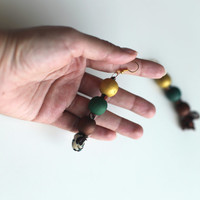 Gold emerald green earrings, handpainted wood beads, gold brown earrings, statement bold bubble earrings, lightweight
