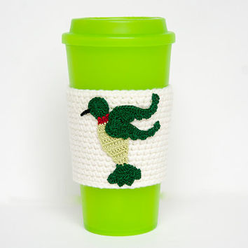 Coffee Cozy, Cup Cozy, Crocheted, Hummingbird applique, Sleeve, Chartreuse and Green,ruby throat, linen colored sleeve