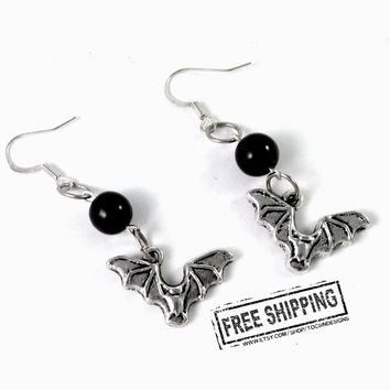 Bat Earrings - gothic jewelry - bat jewelry - gothic bats - gothic earrings halloween bats  - vampire jewelry deathrock batcave  psychobilly
