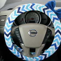 The Original Shades of Blue Chevron Steering Wheel Cover with Matching Dark Royal Blue Bow