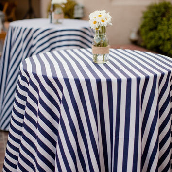 Striped Tablecloth, Navy Stripe Tablecloth, Striped Table Linen, wedding tablecloths, modern wedding decor, nautical wedding decor, tabletop