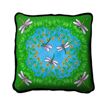 Pure Country Weavers Decorative Dancing Dragonfly Woven Square Cotton Throw Pillow