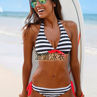 2017 Trending Fashion Women Stripes Printed Sexy Slim Backless Erotic Bikini Swim Suit Beach Bathing Suits Swimwear _ 13007