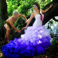 Nova Ombre Purple Ricky Lindsay Bridal Couture Gown Mermaid Style Fashion Dress Wedding