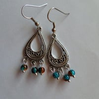 arabian earrings - tibetan earrings - turquoise brown earrings - turquoise earrings - brown earrings