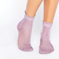 Monki Sheer Glitter Frill Sock at asos.com