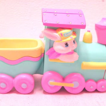 Hallmark, Easter, Boy, Girl, Bunny, Train, Basket, Ceramic, Figurine, Decor, Plastic, Present, Collectible, Crayola, Rabbit, Colored, Gift