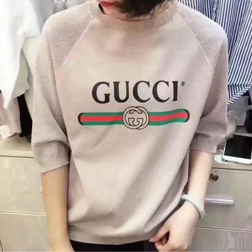 GUCCI Fashion Casual Print Knit Short Sleeve Top Sweater Pullover