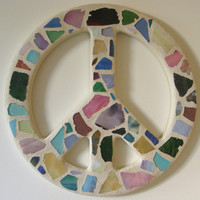 Beach Glass Peace Sign /  Peace Sign Wall Art /  Mosaic Peace Sign / Beach Glass / Wall Art / Hippie / Beach Decor