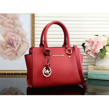 MK Women Shopping Bag Leather Satchel Crossbody Handbag Shoulder Bag Red I-LLBPFSH