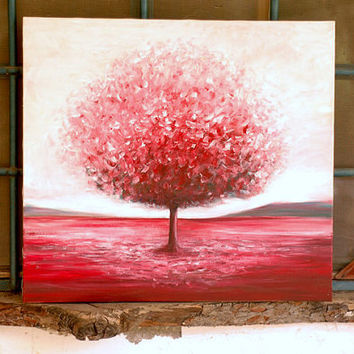 Red tree - canvas print from an original acrylic painting. Fine art  - contemporary modern abstract Artwork by Dina Argov