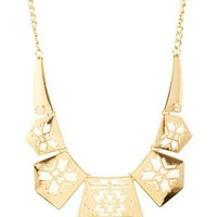 Gold Aztec Cut-Out Collar Necklace by Charlotte Russe