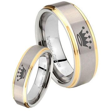 His Hers Step Edge Crown 14K Gold 2 Tone Tungsten Wedding Rings Set