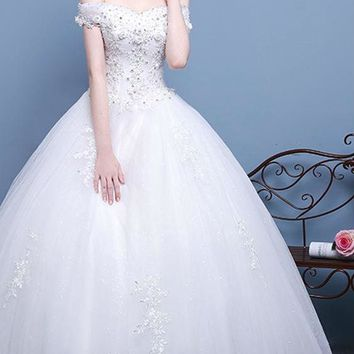 Sexy V Neck Cap Sleeve Long Wedding Dresses Flowers Appliques Beading Sequined Ball Gown Dress