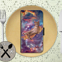 Cat On A Bacon Strip Flying Through A Space Galaxy Funny Kitty Custom Wallet Phone Case For The iPhone 4 and 4s and iPhone 5 and 5s and 5c