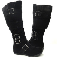 Womens Flat Knee High Boots Lace Up Suede Buckles Comfort Winter Lady's Shoes