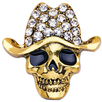 Europe Style Alloy Crystal Skull Brooch
