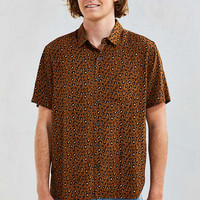 UO Owen Leopard Rayon Short Sleeve Button-Down Shirt - Urban Outfitters