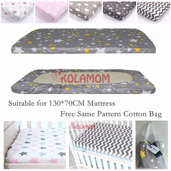 Kolamom Premium Fitted 100% Cotton Newborn Knit Crib Sheet Toddler Nursery Bedding Cover for Boy or Girl Ideal Baby Shower Gift