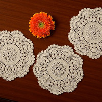 SET 4 Oroshi Doilies - Handmade Crochet- Table Coasters- Wedding and Home Decor