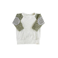 Olive patch sweater, baby sweater, baby jogger outfit, baby boy sweatshirt, modern baby clothing