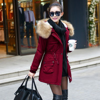 Winter Womens Parka Casual Outwear Military Hooded Coat Winter Jacket