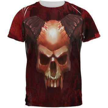 Halloween Horned Demon Skull From Hell All Over Mens T Shirt