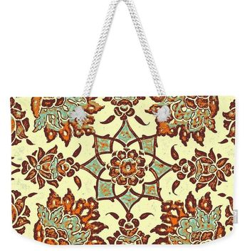 An Ottoman Iznik Style Floral Design Pottery Polychrome, By Adam Asar, No 13b - Weekender Tote Bag