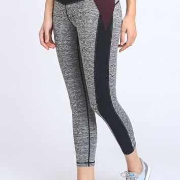 High Waist Color Blocked Contrast Leggings
