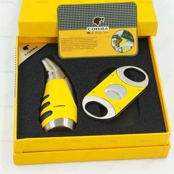 Free Shipping COHIBA Yellow & Silver Metal Torch Jet Flame Cigar Lighter With Cutter Gift Set Gift Box
